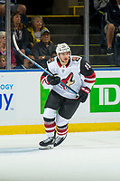 KELOWNA, BC - SEPTEMBER 29: Vinnie Hinostroza #13 of the Arizona Coyotes skates against the Vancouver Canucks at Prospera Place on September 29, 2018 in Kelowna, Canada. (Photo by Marissa Baecker/NHLI via Getty Images)  *** Local Caption *** Vinnie Hinostroza;