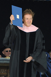 Sir Paul McCartney just after receiving his Honorary Doctor of Music Degree, Mus. D, Yale University, New Haven, CT