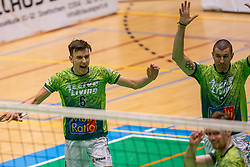Markus Held of Orion, Adam White of Orion celebrate during the league match between Active Living Orion vs. Amysoft Lycurgus on March 20, 2021 in Doetinchem.