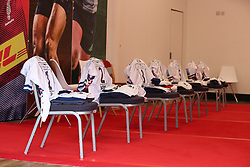 Bristol Bears kits laid out in the Mile Brown bar which is being used as the away dressing room - Mandatory by-line: Matt Impey/JMP - 26/12/2020 - RUGBY - Twickenham Stoop - London, England - Harlequins v Bristol Bears - Gallagher Premiership Rugby