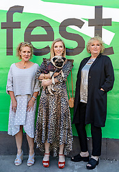 Cast and crew attend a special screening of Patrick at the Edinburgh International Film Festival.<br /> <br /> Directed by Maddie Fletcher it stars Beattie Edmondson<br /> <br /> Pictured: Vanessa Davies (Producer) Beattie Edmondson (Sarah Francis) and Mandie Fletcher (Director) with Harley the dog