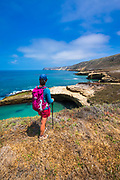 Hiker at Lobo Canyon Beach, Santa Rosa Island, Channel Islands National Park, California USA