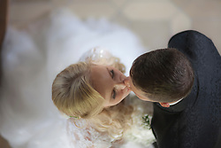Directly above of a bride and groom kissing, Ammersee, Upper Bavaria, Bavaria, Germany