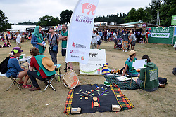 Latitude Festival 2017, Henham Park, Suffolk, UK. Face Your Elephant brings together young peer educators from Woodcraft Folk with research students to engage festival goers in the science and engineering of how to reduce their carbon footprint
