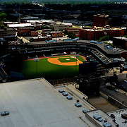 An aerial view from a drone as afternoon sunlight beams down on Fifth Third Field in downtown Toledo on Monday, July 13, 2020. The Mud Hens will not play this year as the Minor League Baseball season was canceled in late June due to the coronavirus pandemic. THE BLADE/KURT STEISS