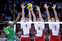 06.09.2014, Jahrhunderthalle, Breslau, POL, FIVB WM, Kamerun vs Polen, Gruppe A, im Bild NATHAN WOUNEMBAINA (L), DAWID KONARSKI (C), ANDRZEJ WRONA (C), MICHAL WINIARSKI (C), // during the FIVB Volleyball Men's World Championships Pool A Match beween Cameroon and Poland at the Jahrhunderthalle in Breslau, Poland on 2014/09/06. <br /> <br /> ***NETHERLANDS ONLY***