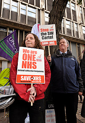 © Licensed to London News Pictures. 30/10/2012; Bristol, UK. Protest by NHS workers and health service trade unions outside the Bristol Royal Infirmary against proposals for regional pay and conditions by the South West Cartel of health authorities.  30 October 2012.  Photo credit: Simon Chapman/LNP