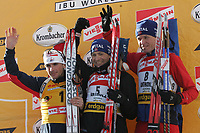 Skiskyting<br /> Verdenscup Anterselva<br /> Foto: Graffiti/Digitalsport<br /> NORWAY ONLY<br /> <br /> Norway's Ole Einar Bjørndalen (C) and compatriot Frode Andresen (R) on the podium of the men's 15 km mass start race competition together with Raphael Poiree