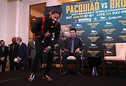 November 20, 2018 - Beverly Hills, California, U.S - November 20, 2018, Beverly Hills,Ca. ---   Manny ''Pacman'' Pacquiao (R) and Adrien ''The Problem'' Broner (ctr) attend a press conference Tuesday in Beverly Hills,California for their upcoming WBA Welterweight title fight Saturday, January 19 from MGM Grand Garden Arena in Las Vegas..Boxing's only eight-division world champion, Pacquiao will end his two-year hiatus from a U.S. boxing ring when he returns to Las Vegas to defend title against former four-division world champion Broner. (Credit Image: © Chris Farina/ZUMA Wire)