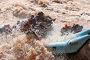 Raft going through Lava rapid a giant rapid on the Colorado river in the  Grand Canyon  Arizona, USA, MR