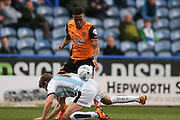 Hull City striker Abel Hernandez (9) can't get through  during the Sky Bet Championship match between Huddersfield Town and Hull City at the John Smiths Stadium, Huddersfield, England on 9 April 2016. Photo by Simon Davies.
