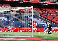 Football - 2020 Emirates 'Heads Up' FA Cup Final - Arsenal vs. Chelsea <br /> <br /> Christian Pulisic  wheels away after scoring the opening goal (0-1) to give Chelsea the lead, at Wembley Stadium. Arsenal's Ainsley Maitland-Niles and goalkeeper Emiliano Martinez look on.<br /> <br /> The match is being played behind closed doors because of the current COVID-19 Coronavirus pandemic, and government social distancing/lockdown restrictions.