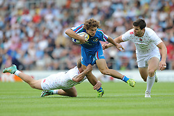 Luigi Niccolo Fadalti of Italy is challenged by Warick Lahmert of England (left) and Charlie Hayter of England  - Photo mandatory by-line: Dougie Allward/JMP - Mobile: 07966 386802 - 11/07/2015 - SPORT - Rugby - Exeter - Sandy Park - European Grand Prix 7s