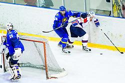 Dmitriy Upper of Kazakhstan vs GASPER KOPITAR of Slovenia during Friendly Ice-hockey match between National teams of Slovenia and Kazakhstan on April 9, 2013 in Ice Arena Tabor, Maribor, Slovenia.  (Photo By Vid Ponikvar / Sportida)