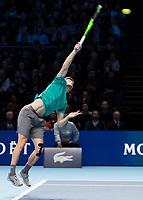 Tennis - 2017 Nitto ATP Finals at The O2 - Day Eight<br /> <br /> Final : Grigor Dimitrov (Bulgaria) Vs David Goffin (Belguim) <br /> <br /> David Goffin (Belguim) serving at the O2 Arena <br /> <br /> COLORSPORT/DANIEL BEARHAM