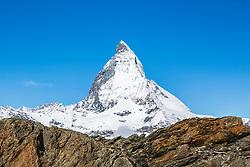 The Matterhorn and a cobalt blue sky, Zermatt Switzerland