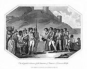 William Bligh (1754-1817) British naval officer, and his companions, received hospitably by the Governor of Timor, 14 June 1789, after voyage of about 4,000 miles in the open longboat in which they had been cast adrift by Fletcher Christian and his 'Bounty' mutineers on 28 April 1789. Copperplate engraving 1802