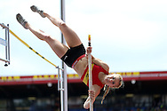 Livvy Conner competing in the Women's Pole Vault Final.The British Championships 2016, athletics event at the Alexander Stadium in Birmingham, Midlands  on Saturday 25th June 2016.<br /> pic by John Patrick Fletcher, Andrew Orchard sports photography.