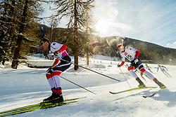 February 2, 2018 - Goms, SWITZERLAND - 180202 Ole JÂ¿rgen Bruvoll and Jan Thomas Jenssen of Norway compete in the men's 15/15 km skiathlon during the FIS U23 Cross-Country World Ski Championships on February 2, 2018 in Obergoms..Photo: Vegard Wivestad GrÂ¿tt / BILDBYRN / kod VG / 170096 (Credit Image: © Vegard Wivestad Gr¯Tt/Bildbyran via ZUMA Press)