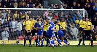 Photo: Alan Crowhurst.<br />Watford v Cardiff City. Coca Cola Championship. 25/02/2006. Cardiff's Jason Koumas hits the post late on from a free kick.