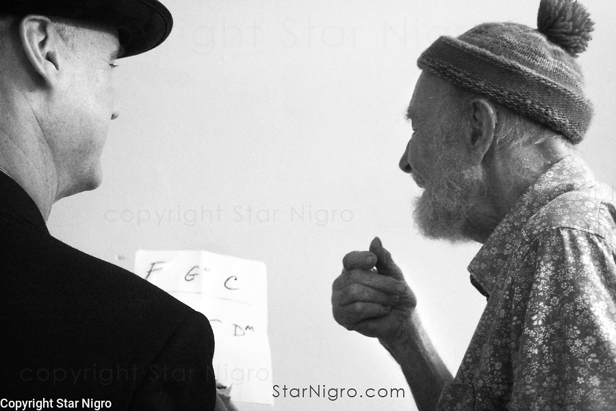 Pete Seeger,world known activist/ folk musician getting ready for a performance at Beacon theater.<br /> <br /> +When you purchase this photograph part of the proceed will go to  clearwater.org.<br /> <br /> <br /> <br /> © 2021 All artwork is the property of STAR NIGRO.  Reproduction is strictly prohibited.