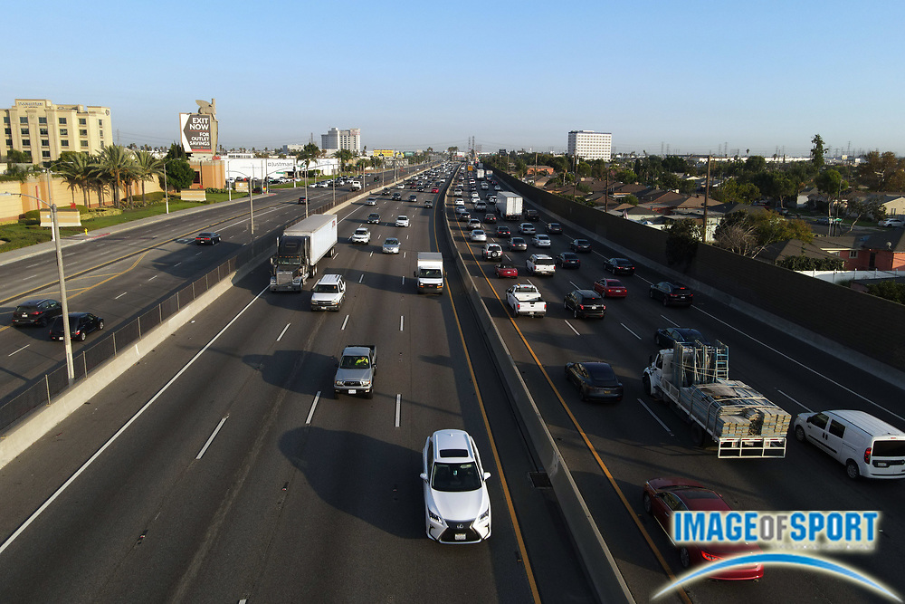 A general view of traffic on the Interstate 5 freeway, Thursday Sept. 17 2020, in Los Angeles.