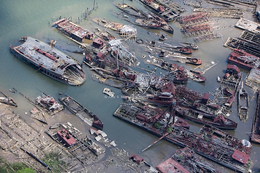 Arthur Kill Ship Graveyard on the edge of Fresh Kills Landfill