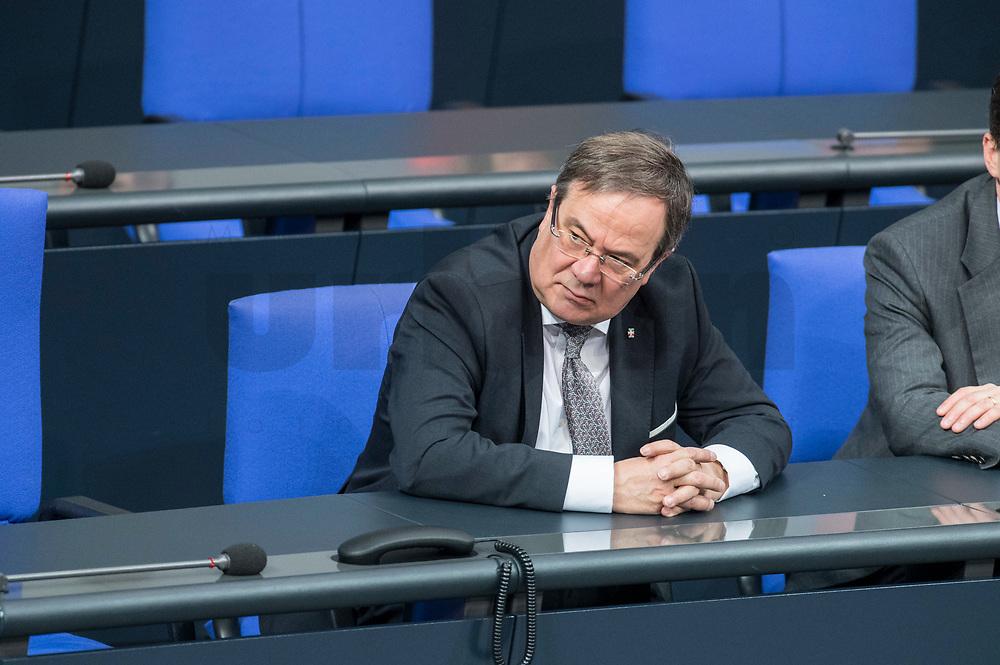 21 MAR 2019, BERLIN/GERMANY:<br /> Armin Laschet, CDU, Ministerpraesident Nrodrehin-Westfalen, Bundestagsdebatte zur Regierungserklaerung der Bundeskanzlerin zum Europaeischen Rat, Plenum, Deutscher Bundestag<br /> IMAGE: 20190321-01-033