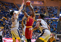 Mar 6, 2019; Morgantown, WV, USA; Iowa State Cyclones forward Cameron Lard (2) shoots in the lane during the first half against the West Virginia Mountaineers at WVU Coliseum. Mandatory Credit: Ben Queen-USA TODAY Sports