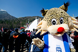 Fans and official mascot lynx Buli of IIHF WC 2012 Division I during Flying Hill Team at 3rd day of FIS Ski Jumping World Cup Finals Planica 2012, on March 17, 2012, Planica, Slovenia. (Photo by Matic Klansek Velej / Sportida.com)