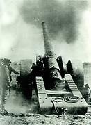 WW1, England, British heavy artillary firing across the channel, 1916.