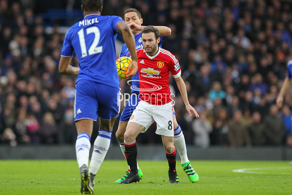 Juan Mata of Manchester United holds the ball up during the Barclays Premier League match between Chelsea and Manchester United at Stamford Bridge, London, England on 7 February 2016. Photo by Phil Duncan.