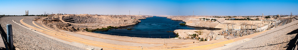 Egypt. The Aswan Dam is an embankment dam situated across the Nile River. Panorama view.
