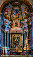 """""""Altar of Sant'Andrea imagines the crucifixion of Christ - Cathedral of Amalfi""""...<br /> <br /> I caught the rain soaked ferry down the coast to the seaside town of Amalfi. The Duomo di Amalfi is usually packed with tourists bused and ferried from 100's of miles away, but with the dreary weather many stayed away. A church has resided on this site in Amalfi since 596 AD and the one built in the 9th century still stands today. The present cathedral was built adjacent to the old one in the early 13th century to provide a suitable resting place for St. Andrew the Apostle. The two were originally joined together to form a single, six-nave Romanesque cathedral. Newer walls have been taken down to expose parts of the ancient original church, and one can ponder history by this glimpse back in time.  Andrew, Saint Peter's brother and one of Christ's closest disciples was also the disciple of John the Baptist. Saint Andrew was called with Peter: """"As [Jesus] was walking by the Sea of Galilee, he saw two brothers, Simon who is now called Peter, and his brother Andrew, casting a net into the sea; they were fishermen. He said to them, 'Come after me, and I will make you fishers of men.' At once they left their nets and followed him"""" (Matthew 4:18-20). Stairs near the east end of the Duomo descend into the Crypt of St. Andrew, where his relics are kept in the central altar. The crypt is decorated with magnificent Baroque murals from 1660. As I knelt and prayed at the glorious crypt befitting this great disciple who was martyred on an X shaped crucifix, my mind wondered of the true nature of this chosen man who became a Saint. I stirred around to the back of the altar and found myself facing his eternal light and relics. I knelt again in prayer feeling the great essence and presence of this selfless apostle. As in many other locations and churches in Italy, where Saints seem to be from every town, I was overcome with deep emotion and an abundance of heartfelt spiritual joy!"""
