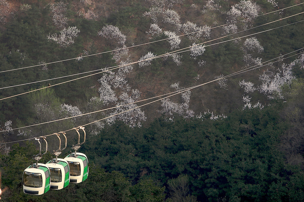The cable cars at the Badaling section of The Great Wall in China.