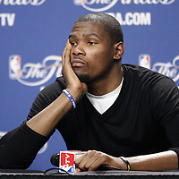 19 June 2012: Oklahoma City Thunder small forward Kevin Durant listens to journalists during a press conference following the Miami Heat 104-98 victory over the Oklahoma City Thunder, in Game 4 of the 2012 NBA Finals, at the AmericanAirlinesArena, Miami, Florida, USA.