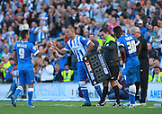 Brighton striker Bobby Zamora Robert Zamora replaces Brighton striker Sam Baldock during the Sky Bet Championship match between Brighton and Hove Albion and Hull City at the American Express Community Stadium, Brighton and Hove, England on 12 September 2015. Photo by Bennett Dean.