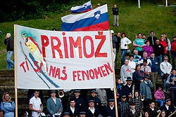 Fans of Primoz Peterka during Ski Jumping Summer Continental Cup in Kranj and last jump of Primoz Peterka's career, one of the best ski jumpers in history, on July 2, 2011, in Kranj, Slovenia. (Photo by Vid Ponikvar / Sportida)