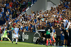 September 26, 2018 - El Zhar of Leganes celebrates the goal during the La Liga (Spanish Championship) football match between CD Leganes and FC Barcelona on September 26th, 2018 at Municipal Butarque stadium in Madrid, Spain. (Credit Image: © AFP7 via ZUMA Wire)