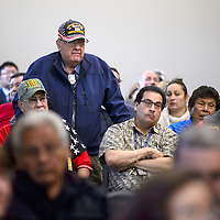 Joe Zecca, Navy veteran, asks about the Gallup Veteran Cemetery during the veteran town hall meeting at the Second Street Events Center in Gallup Wednesday.