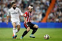 Carvajal of Real Madrid and Banat of Athletic de Bilbao during La Liga match between Real Madrid and Athletic de Bilbao at Santiago Bernabeu stadium in Madrid, Spain. October 05, 2014. (ALTERPHOTOS/Caro Marin)