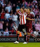 Photo: Jed Wee/Sportsbeat Images.<br /> Sunderland v Burnely. Coca Cola Championship. 27/04/2007.<br /> <br /> Sunderland's David Connolly has his head in his hands as he misses from the penalty spot.