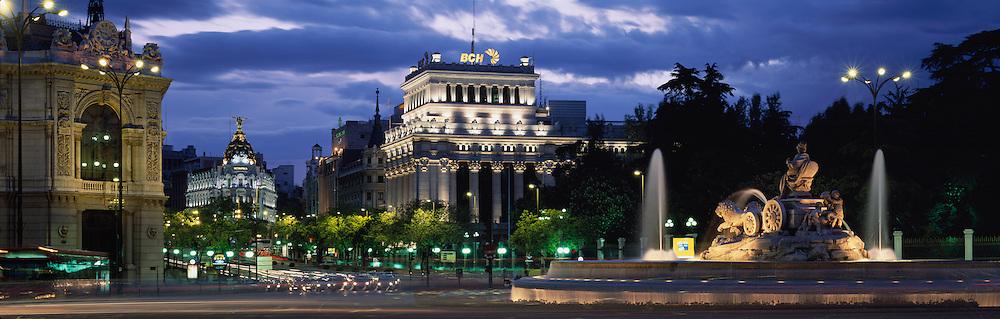 Plaza de la Cebeles at night in Madrid, Spain.