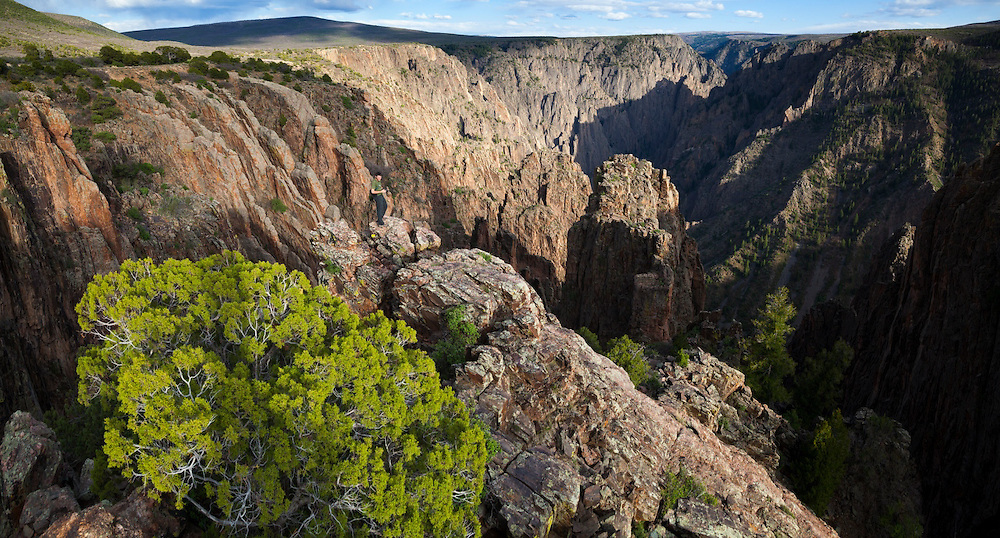Obadiah Reid stands out on the rim at Island Peaks, Black Canyon of the Gunnison National Park, Colorado.