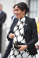 March 8, 2019 - London, London, United Kingdom - Duchess of Sussex visit King's College London. The Duchess of Sussex join's a panel discussion convened by The Queen's Commonwealth Trust to mark International Women's Day, at King's College London, bringing together a special panel of female thought-leaders and activists to discuss a range of issues affecting women today. (Credit Image: © Andrew Parsons/i-Images via ZUMA Press)