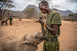 Mike Learka and Nadasoit spend a lot of time loving on each other. Elephants are highly emotional animals and when a baby elephant loses its mother, it will grieve. When a calf makes it through a tough time, everyone at Reteti (@r.e.s.c.u.e) celebrates.<br /> <br /> Reteti Elephant Sanctuary, in northern Kenya is the first ever community-owned and run elephant sanctuary in Africa. The sanctuary provides a safe place for injured elephants to heal and later, be returned back to the wild.  You can support this incredible place and the people who protect wildlife. Make a $10 contribution in support of Reteti for a chance to win a trip to Kenya, see Dave Matthews in concert and take home Dave's guitar with @prizeo (Link in profile). Not only will you be helping care for orphaned baby elephants and strengthening community ties, you'll also have a chance to win a life-changing trip to see the sanctuary in person. The first $10,000 in funds raised will be generously matched by Elephant Gems (@elephantgems).<br /> <br /> Reteti operates in partnership with Conservation International (@conservationorg) who provide critical operational support and work to scale the Reteti community-centered model to create lasting impacts worldwide. <br /> <br /> Photo by @amivitale.