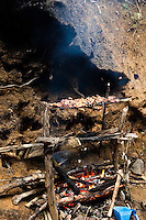 Chicken grilling on an open fire on the banks of the river in Sarawak.