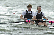 Nottingham, National Rowing Championship.<br /> 2001 Championships<br /> Photo Peter Spurrier.<br /> <br /> Mol M2-<br /> Coxless Pair<br /> Jonny Searle (1992 Barcelona Olympics Gold Medallist)  now a recreational rower  and  Luke Nolan, Molesey BC,  competing in the men's coxless pair event.<br /> National Rowing Championship at Nottingham.     [Mandatory Credit;Peter SPURRIER;Intersport Images] 20010723 National Rowing Championships, Nottingham. UK