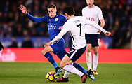 Jamie Vardy of Leicester city battles with Heung-Min Son of Tottenham Hotspur  .Premier league match, Leicester City v Tottenham Hotspur at the King Power Stadium in Leicester, Leicestershire on Tuesday 28th November 2017.<br /> pic by Bradley Collyer, Andrew Orchard sports photography.