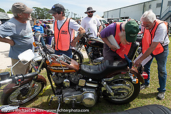 Judging at the Antique Motorcycle Club of America (AMCA) Sunshine Chapter meet in New Smyrna Beach during Daytona Bike Week, FL. USA. Saturday, March 9, 2019. Photography ©2019 Michael Lichter.